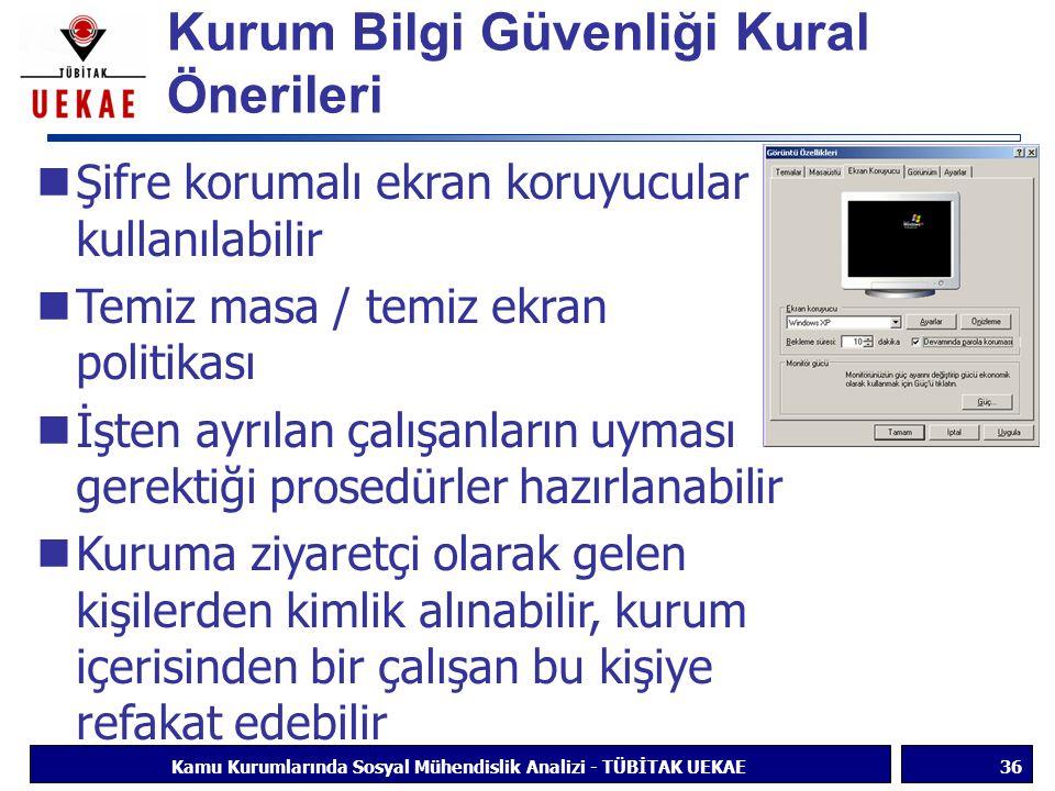 Kurum Bilgi Güvenliği Kural Önerileri