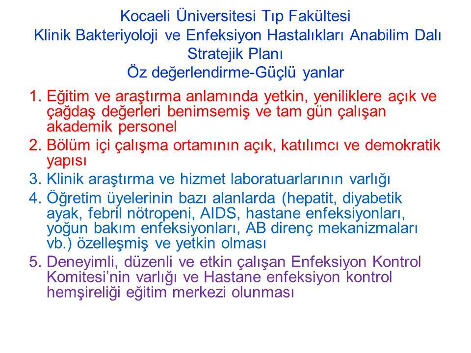 Kocaeli Üniversitesi Tıp Fakültesi Klinik Bakteriyoloji ve Enfeksiyon Hastalıkları Anabilim Dalı Stratejik Planı Öz değerlendirme-Güçlü yanlar