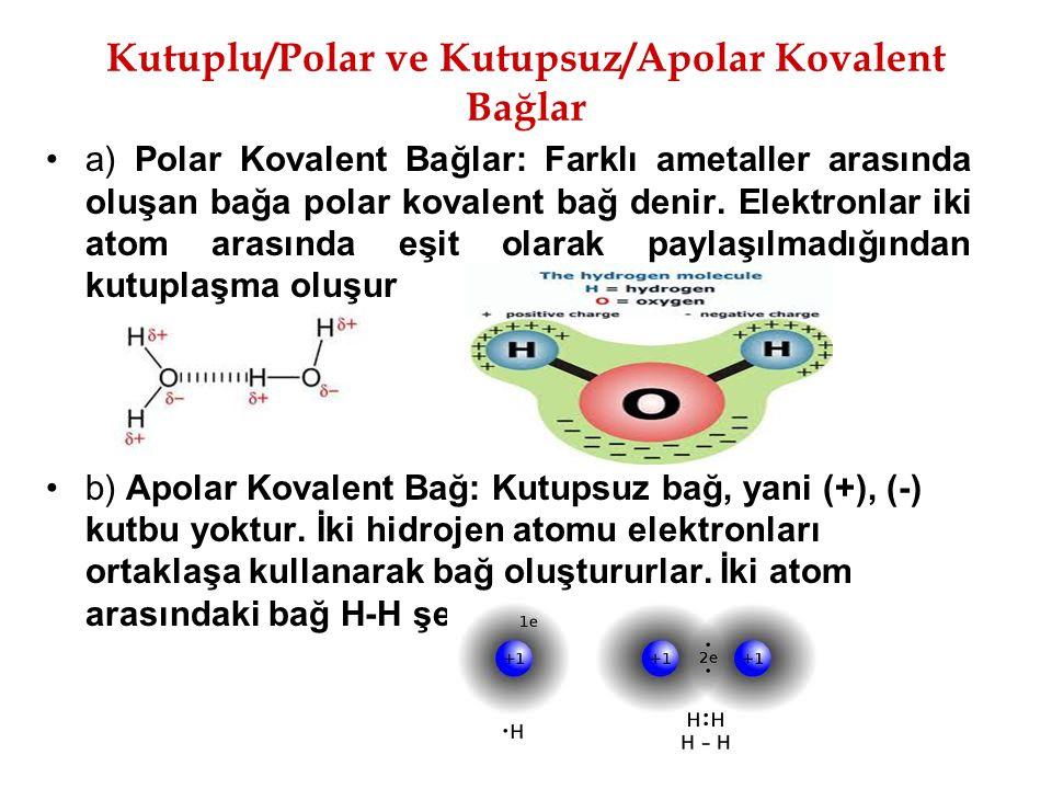 Kutuplu/Polar ve Kutupsuz/Apolar Kovalent Bağlar