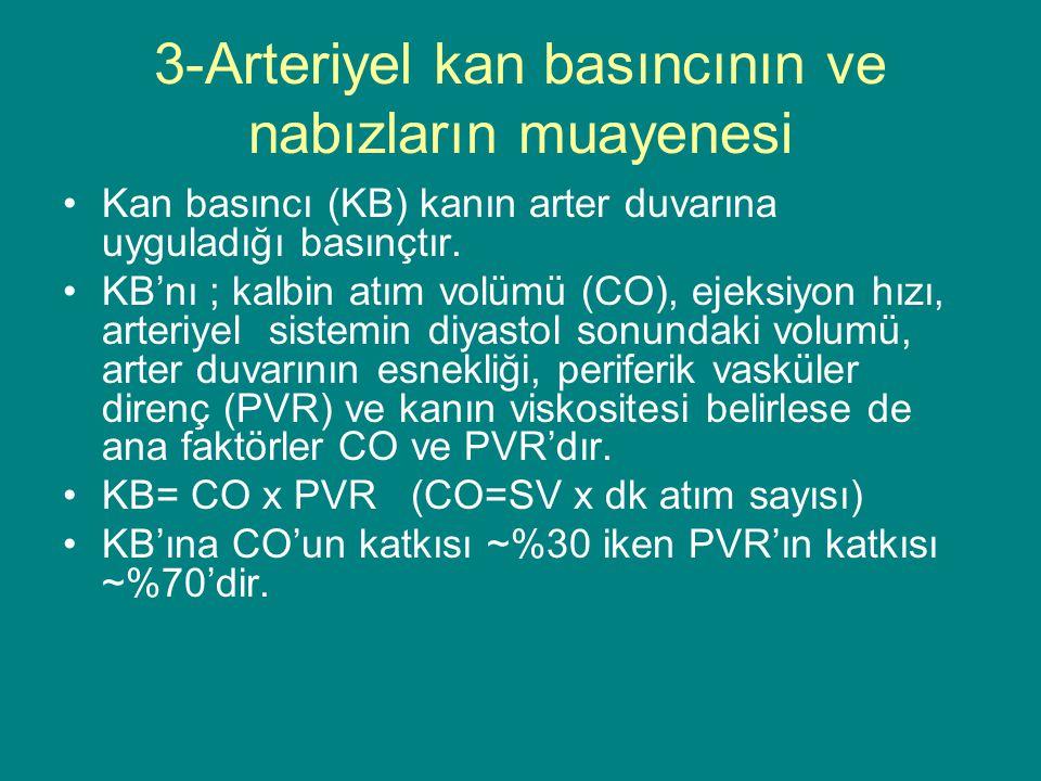 3-Arteriyel kan basıncının ve nabızların muayenesi