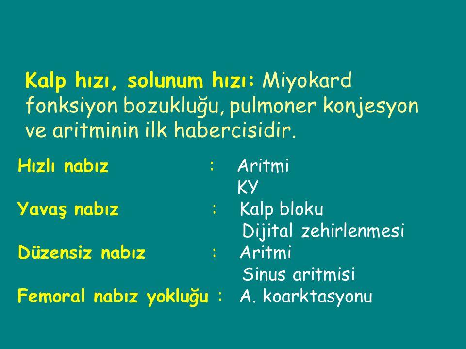Kalp hızı, solunum hızı: Miyokard fonksiyon bozukluğu, pulmoner konjesyon ve aritminin ilk habercisidir.