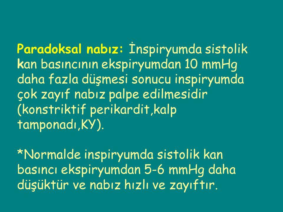 Paradoksal nabız: İnspiryumda sistolik kan basıncının ekspiryumdan 10 mmHg daha fazla düşmesi sonucu inspiryumda çok zayıf nabız palpe edilmesidir (konstriktif perikardit,kalp tamponadı,KY).