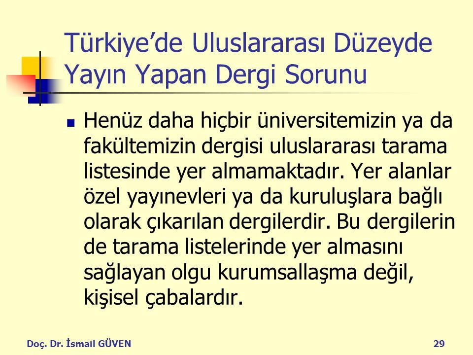 Türkiye'de Uluslararası Düzeyde Yayın Yapan Dergi Sorunu