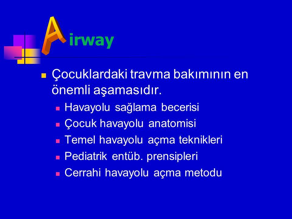 irway A Çocuklardaki travma bakımının en önemli aşamasıdır.