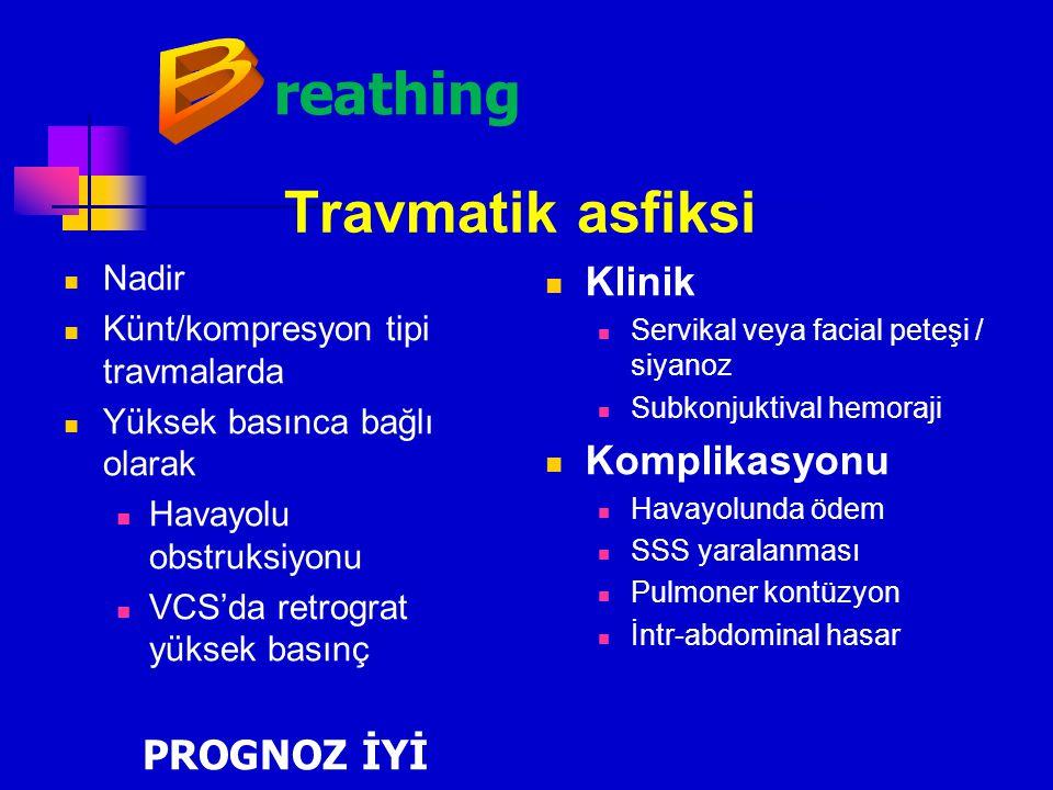 reathing Travmatik asfiksi B Klinik Komplikasyonu PROGNOZ İYİ Nadir