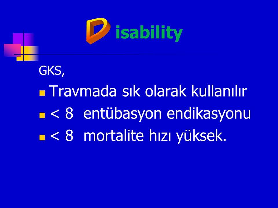 isability Travmada sık olarak kullanılır < 8 entübasyon endikasyonu