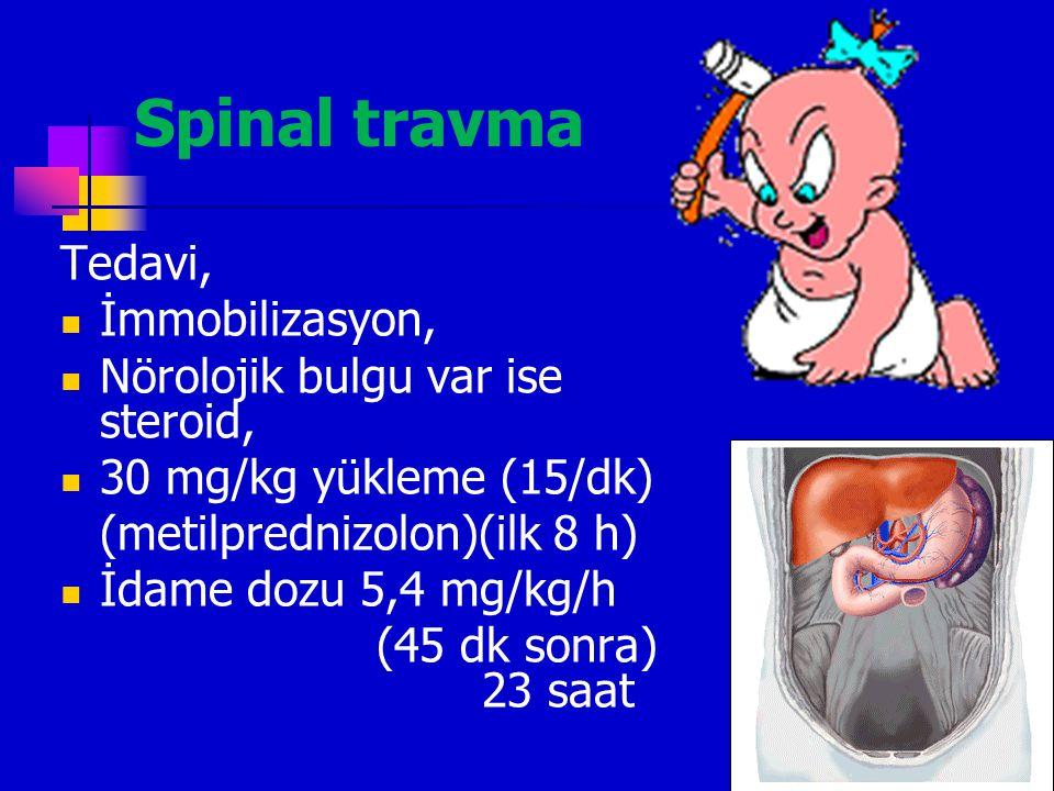 Spinal travma Tedavi, İmmobilizasyon, Nörolojik bulgu var ise steroid,