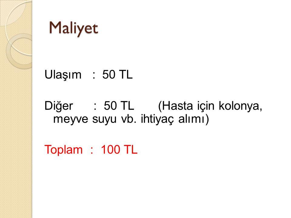 Maliyet Ulaşım : 50 TL Diğer : 50 TL (Hasta için kolonya, meyve suyu vb.