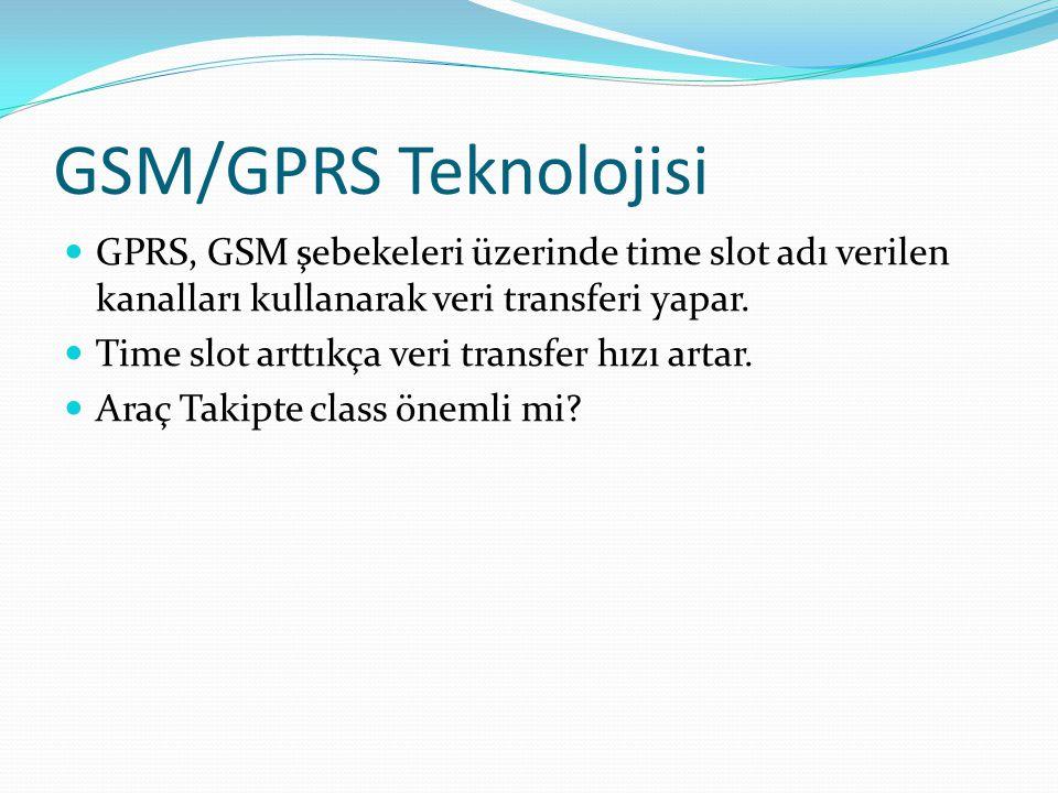 GSM/GPRS Teknolojisi GPRS, GSM şebekeleri üzerinde time slot adı verilen kanalları kullanarak veri transferi yapar.