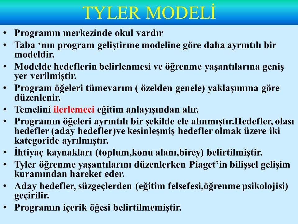 TYLER MODELİ Programın merkezinde okul vardır