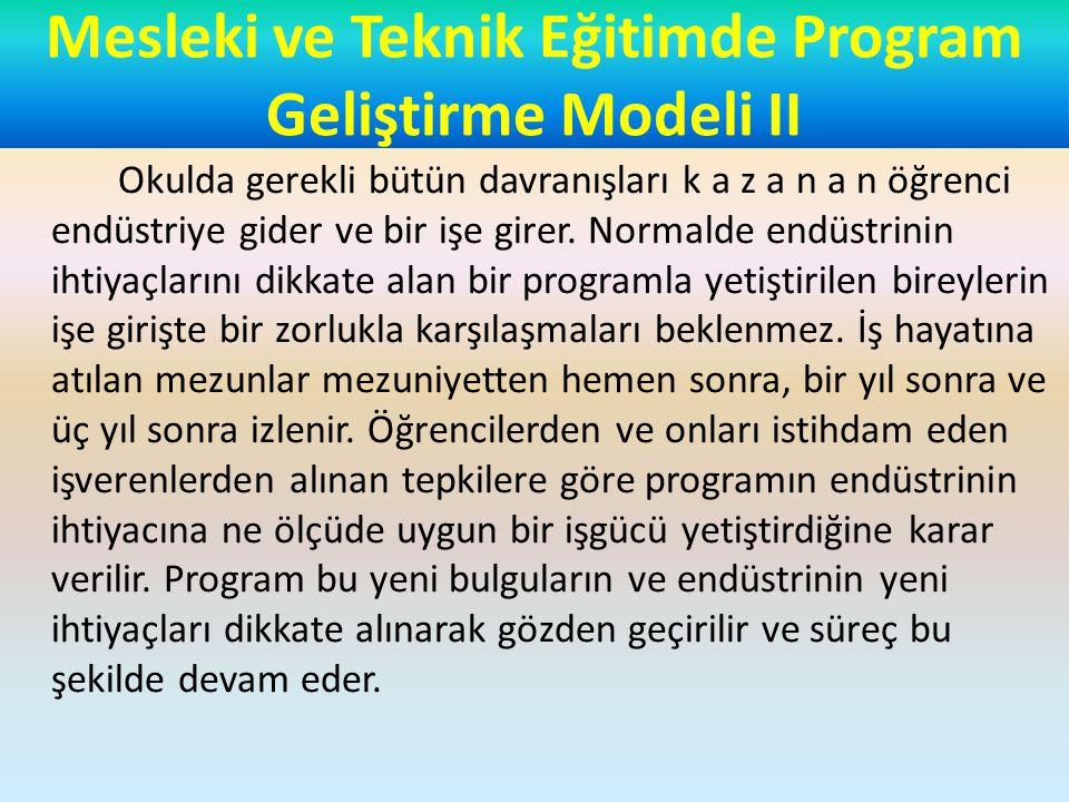 Mesleki ve Teknik Eğitimde Program Geliştirme Modeli II