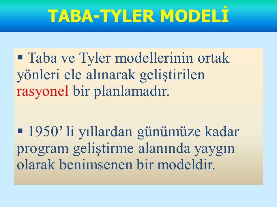 TABA-TYLER MODELİ Taba ve Tyler modellerinin ortak yönleri ele alınarak geliştirilen rasyonel bir planlamadır.
