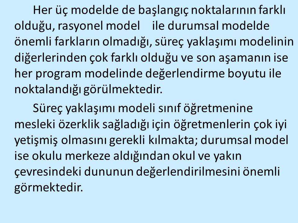 Her üç modelde de başlangıç noktalarının farklı olduğu, rasyonel model
