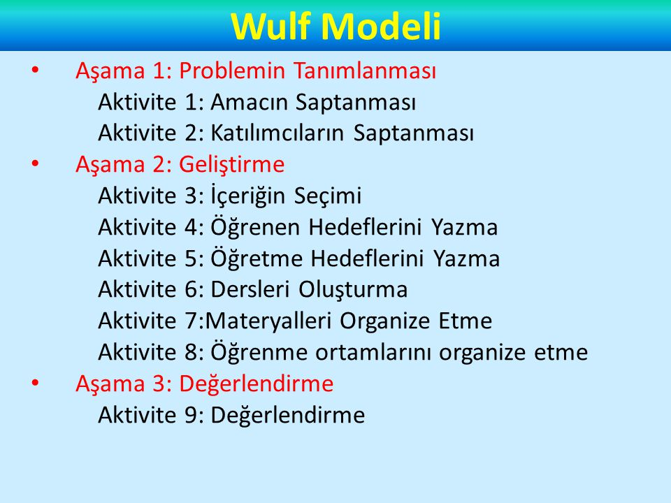 Wulf Modeli Aşama 1: Problemin Tanımlanması