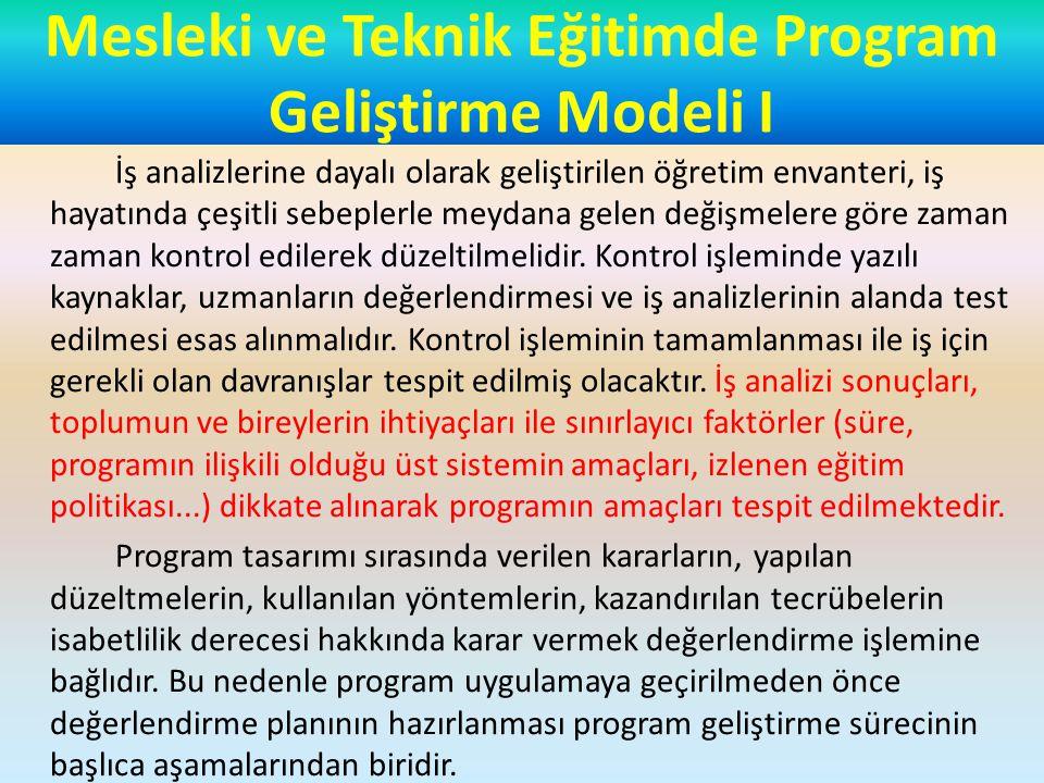 Mesleki ve Teknik Eğitimde Program Geliştirme Modeli I