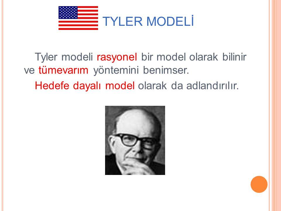 ABD: TYLER MODELİ Tyler modeli rasyonel bir model olarak bilinir ve tümevarım yöntemini benimser.