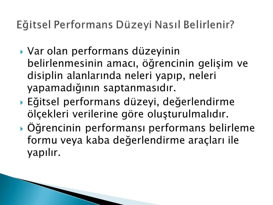 Eğitsel Performans Düzeyi Nasıl Belirlenir