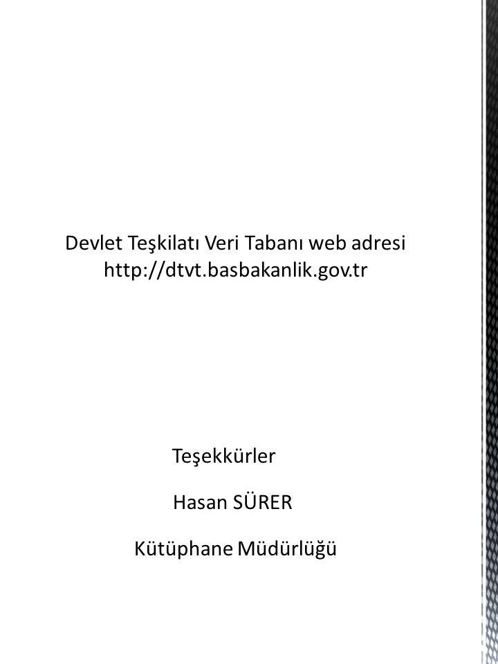 Devlet Teşkilatı Veri Tabanı web adresi