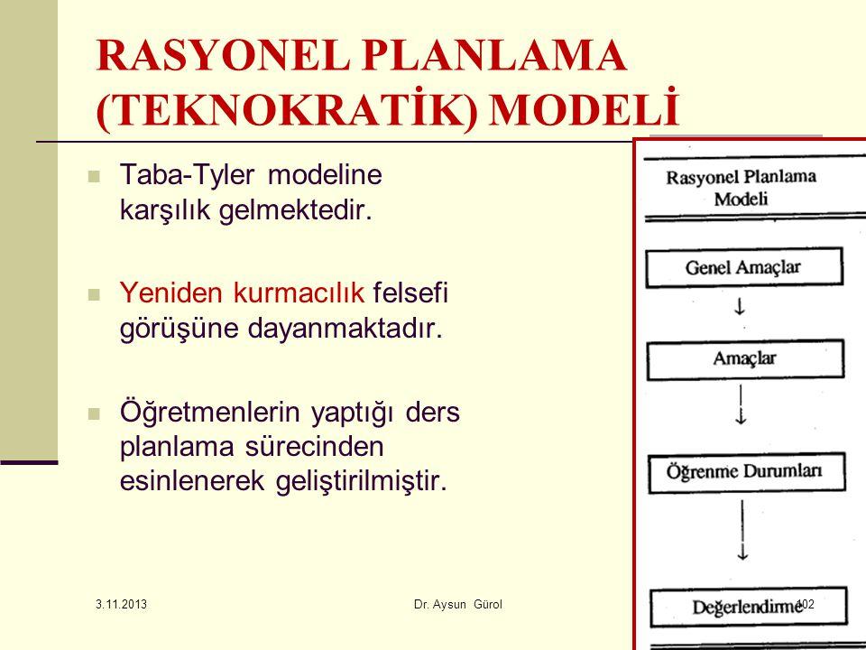 RASYONEL PLANLAMA (TEKNOKRATİK) MODELİ