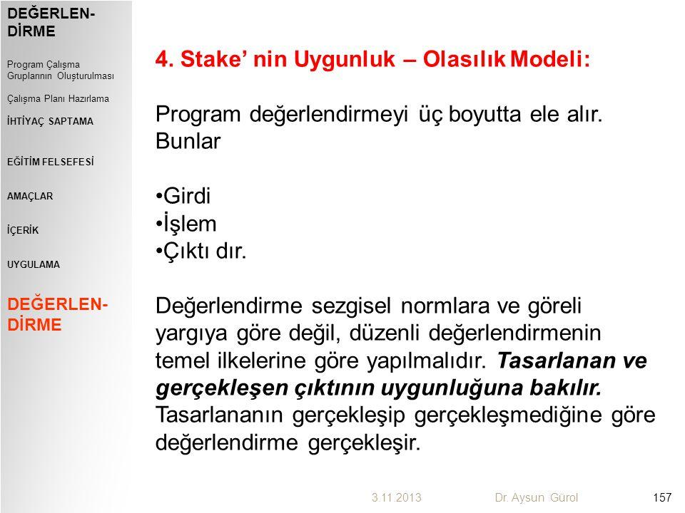 4. Stake' nin Uygunluk – Olasılık Modeli: