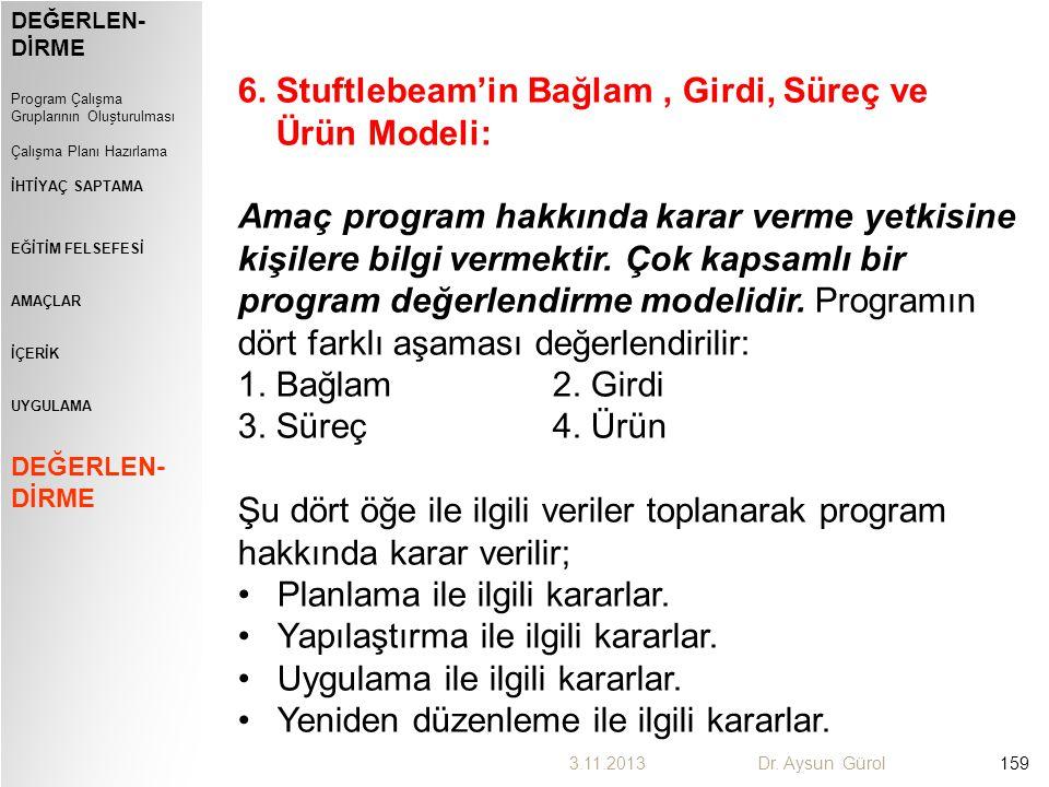 6. Stuftlebeam'in Bağlam , Girdi, Süreç ve Ürün Modeli: