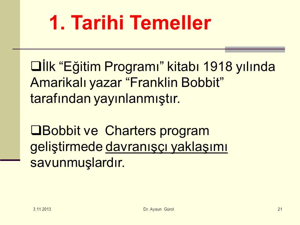 1. Tarihi Temeller İlk Eğitim Programı kitabı 1918 yılında Amarikalı yazar Franklin Bobbit tarafından yayınlanmıştır.