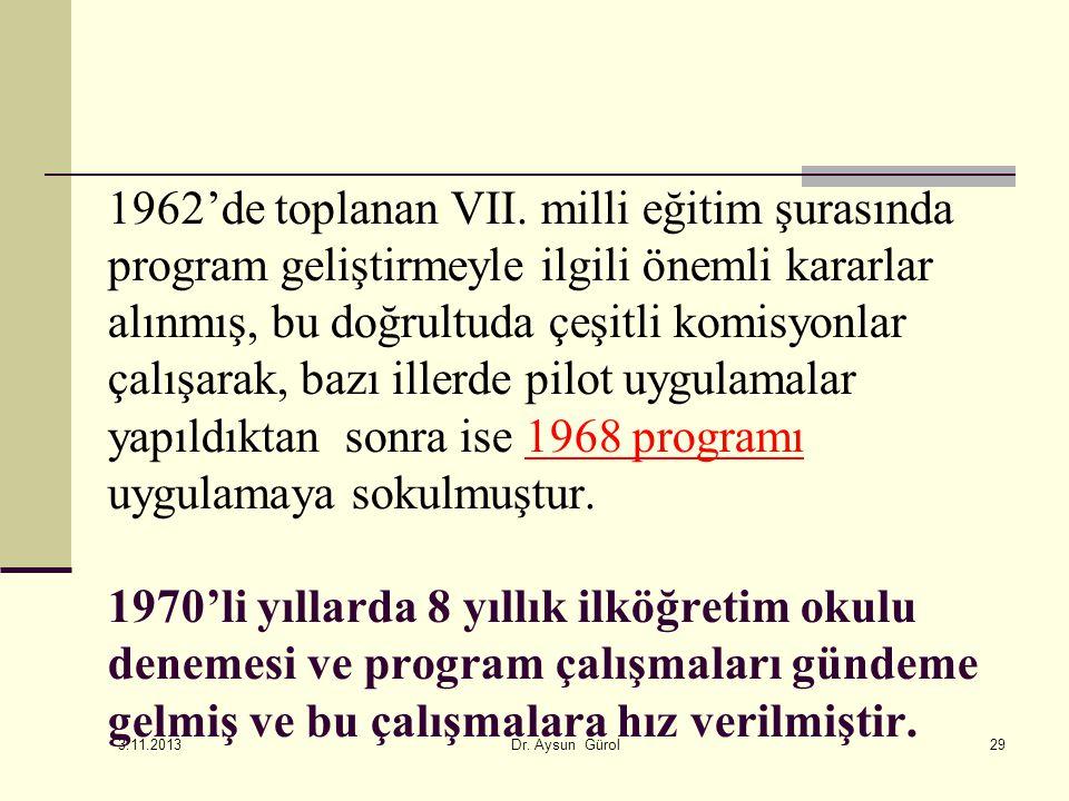 1962'de toplanan VII. milli eğitim şurasında program geliştirmeyle ilgili önemli kararlar alınmış, bu doğrultuda çeşitli komisyonlar çalışarak, bazı illerde pilot uygulamalar yapıldıktan sonra ise 1968 programı uygulamaya sokulmuştur. 1970'li yıllarda 8 yıllık ilköğretim okulu denemesi ve program çalışmaları gündeme gelmiş ve bu çalışmalara hız verilmiştir.