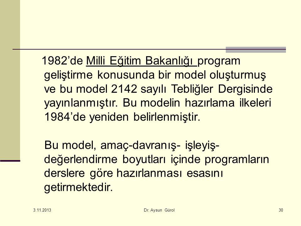 1982'de Milli Eğitim Bakanlığı program geliştirme konusunda bir model oluşturmuş ve bu model 2142 sayılı Tebliğler Dergisinde yayınlanmıştır. Bu modelin hazırlama ilkeleri 1984'de yeniden belirlenmiştir.