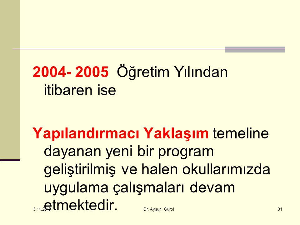 2004- 2005 Öğretim Yılından itibaren ise