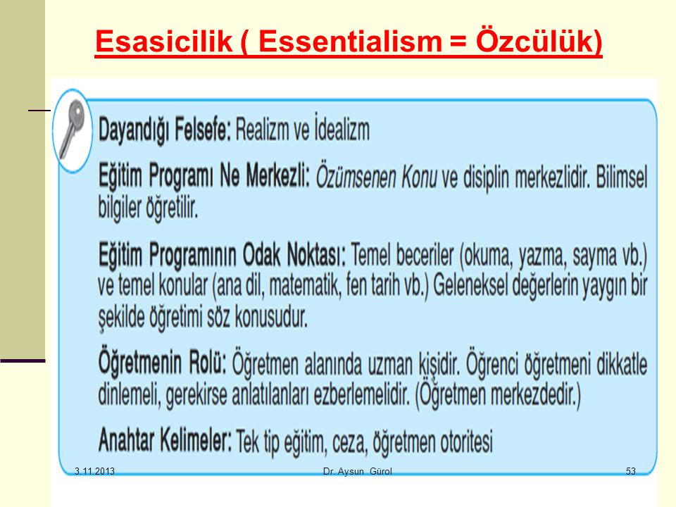 Esasicilik ( Essentialism = Özcülük)