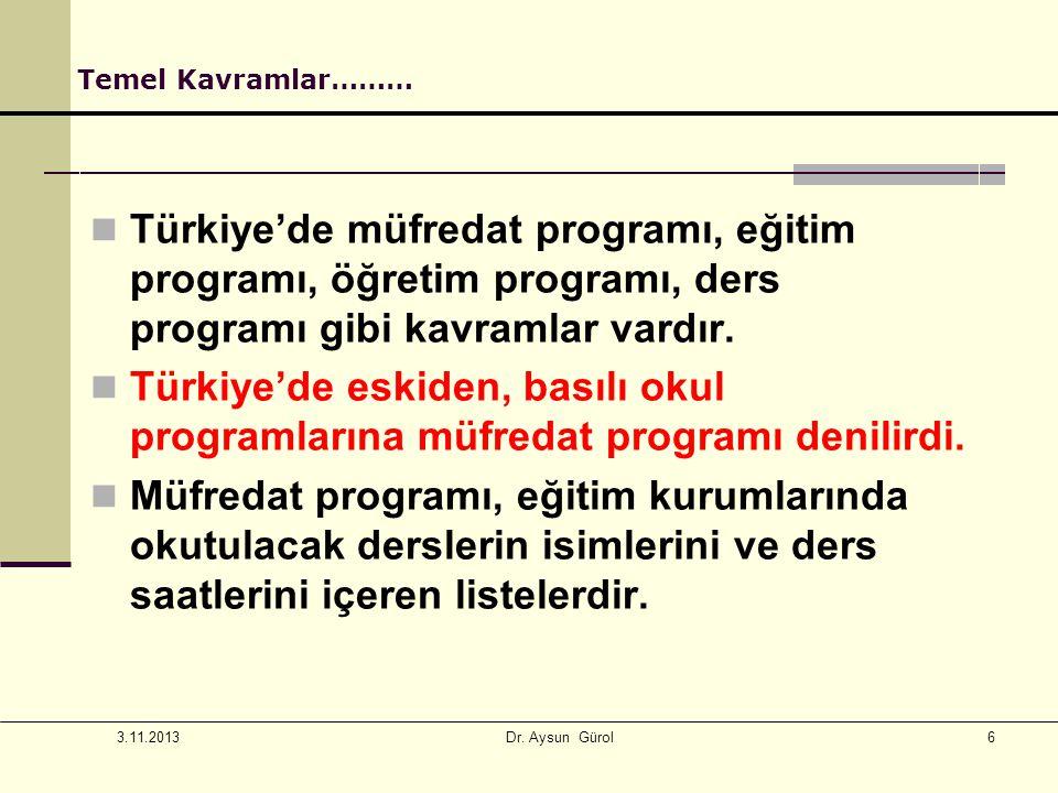 Temel Kavramlar……… Türkiye'de müfredat programı, eğitim programı, öğretim programı, ders programı gibi kavramlar vardır.