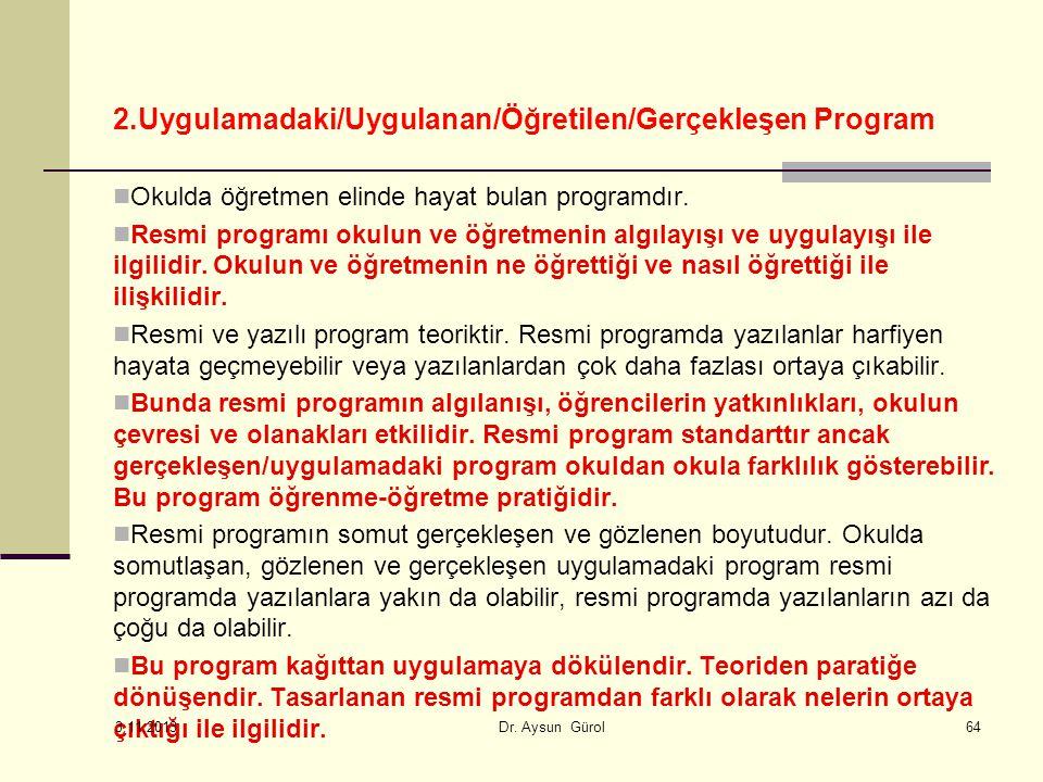 2.Uygulamadaki/Uygulanan/Öğretilen/Gerçekleşen Program