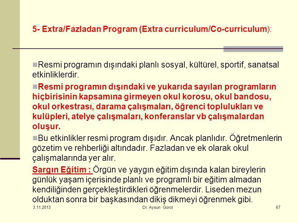 5- Extra/Fazladan Program (Extra curriculum/Co-curriculum):
