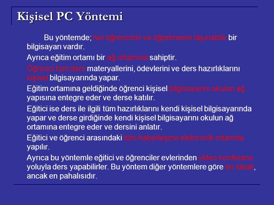 Kişisel PC Yöntemi Ayrıca eğitim ortamı bir ağ ortamına sahiptir.