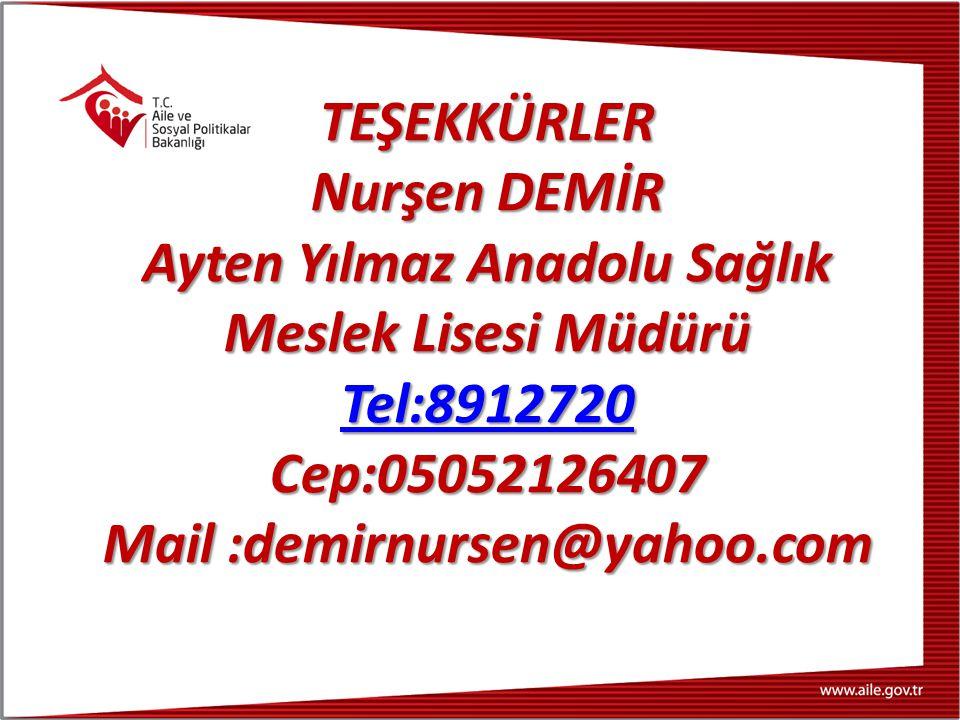 Ayten Yılmaz Anadolu Sağlık Meslek Lisesi Müdürü Tel:8912720