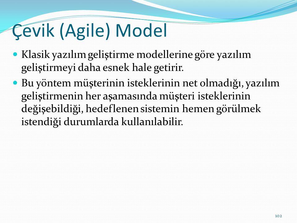 Çevik (Agile) Model Klasik yazılım geliştirme modellerine göre yazılım geliştirmeyi daha esnek hale getirir.