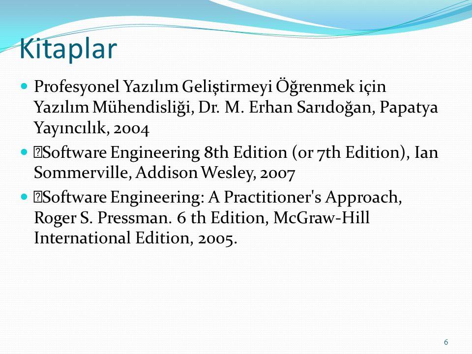 Kitaplar Profesyonel Yazılım Geliştirmeyi Öğrenmek için Yazılım Mühendisliği, Dr. M. Erhan Sarıdoğan, Papatya Yayıncılık, 2004.