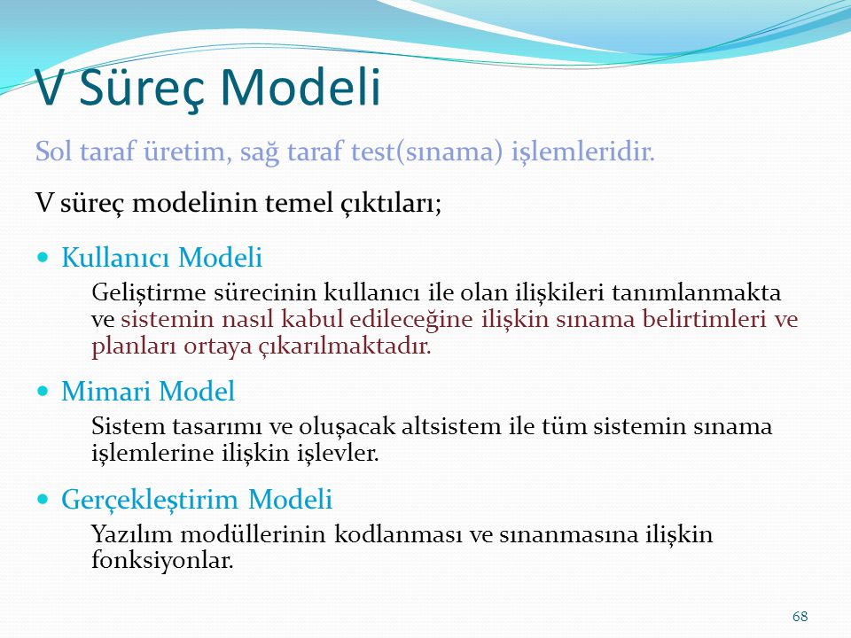 V Süreç Modeli Sol taraf üretim, sağ taraf test(sınama) işlemleridir.