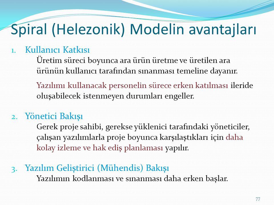 Spiral (Helezonik) Modelin avantajları
