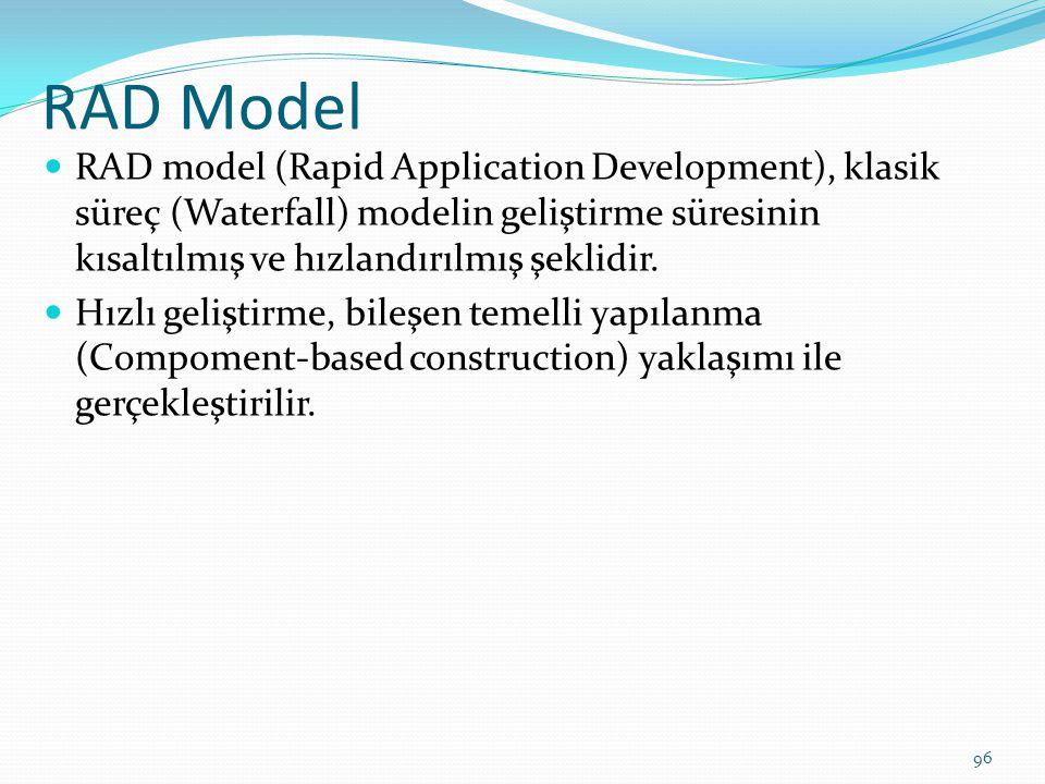 RAD Model RAD model (Rapid Application Development), klasik süreç (Waterfall) modelin geliştirme süresinin kısaltılmış ve hızlandırılmış şeklidir.