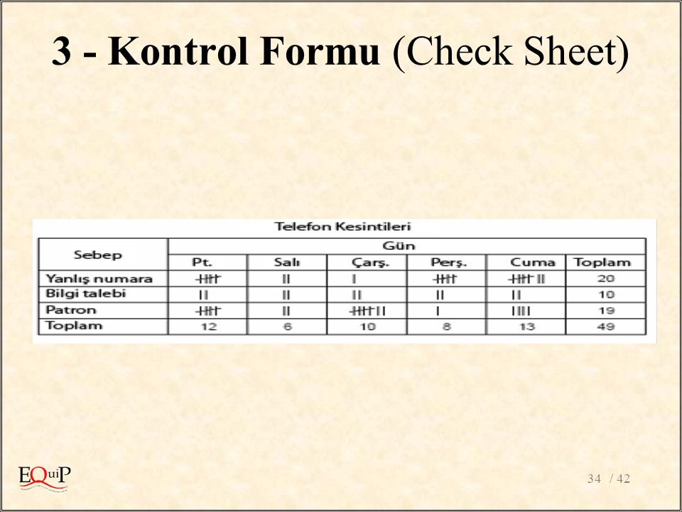 3 - Kontrol Formu (Check Sheet)