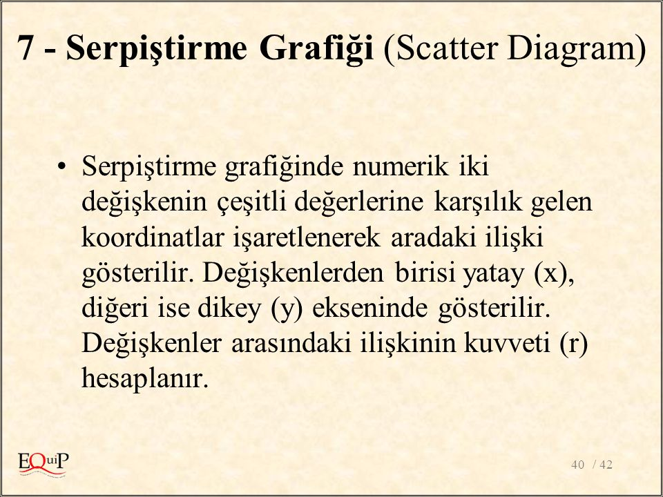 7 - Serpiştirme Grafiği (Scatter Diagram)