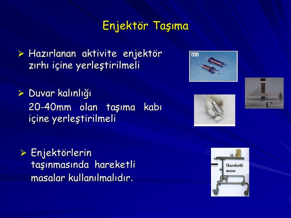 Enjektör Taşıma Hazırlanan aktivite enjektör zırhı içine yerleştirilmeli. Duvar kalınlığı. 20-40mm olan taşıma kabı içine yerleştirilmeli.