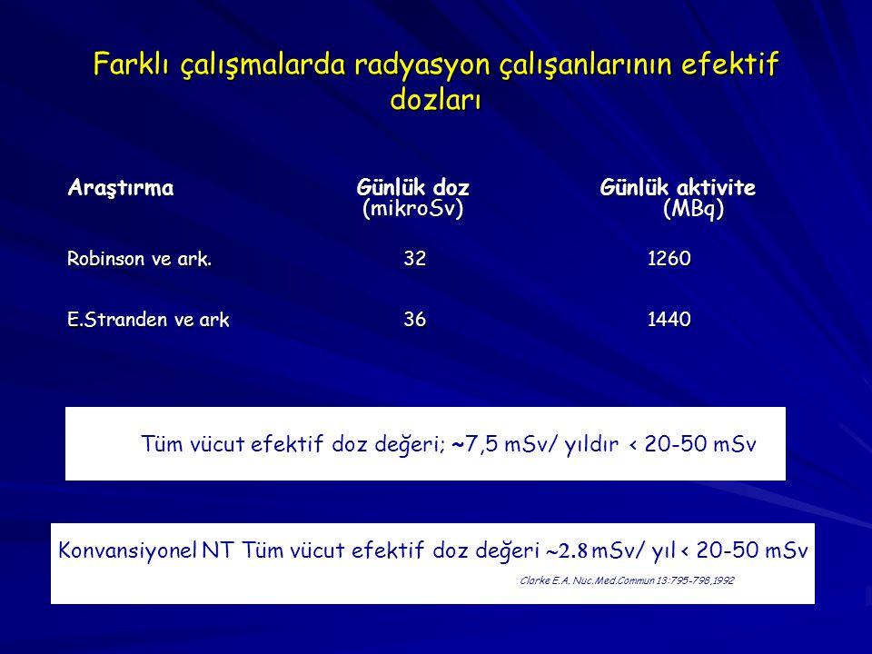 Farklı çalışmalarda radyasyon çalışanlarının efektif dozları