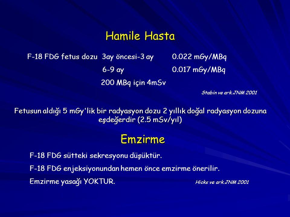 Hamile Hasta Emzirme F-18 FDG fetus dozu 3ay öncesi-3 ay 0.022 mGy/MBq