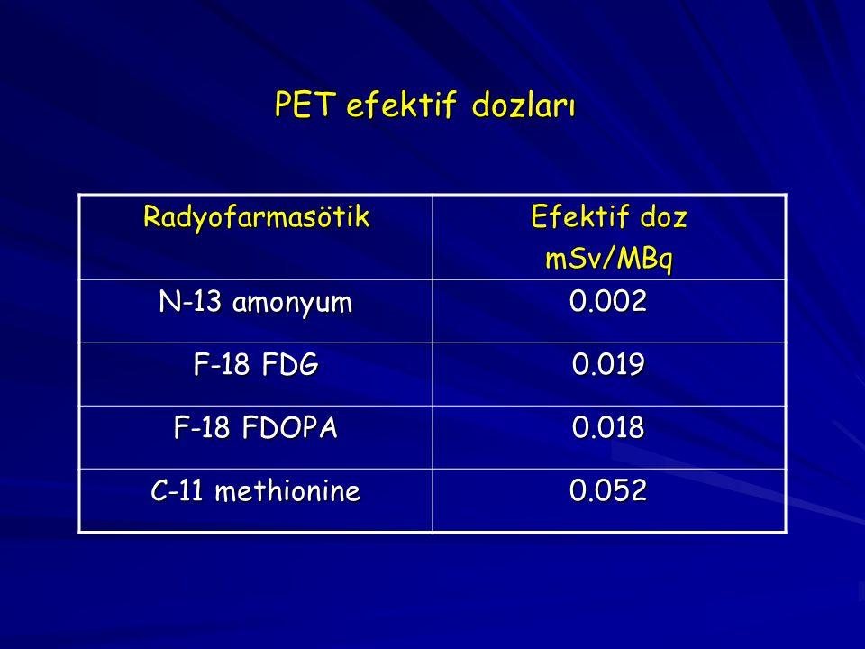 PET efektif dozları Radyofarmasötik Efektif doz mSv/MBq N-13 amonyum