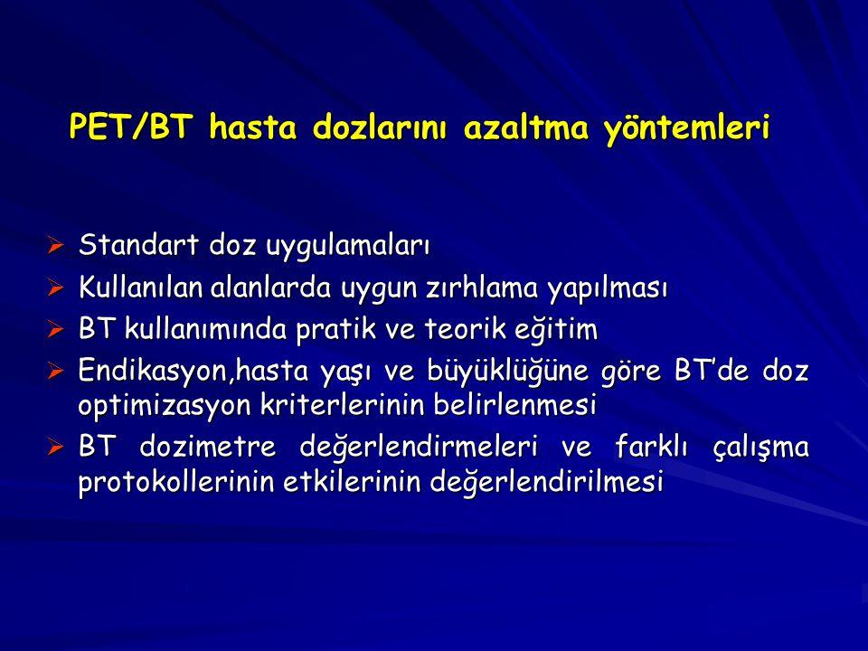 PET/BT hasta dozlarını azaltma yöntemleri