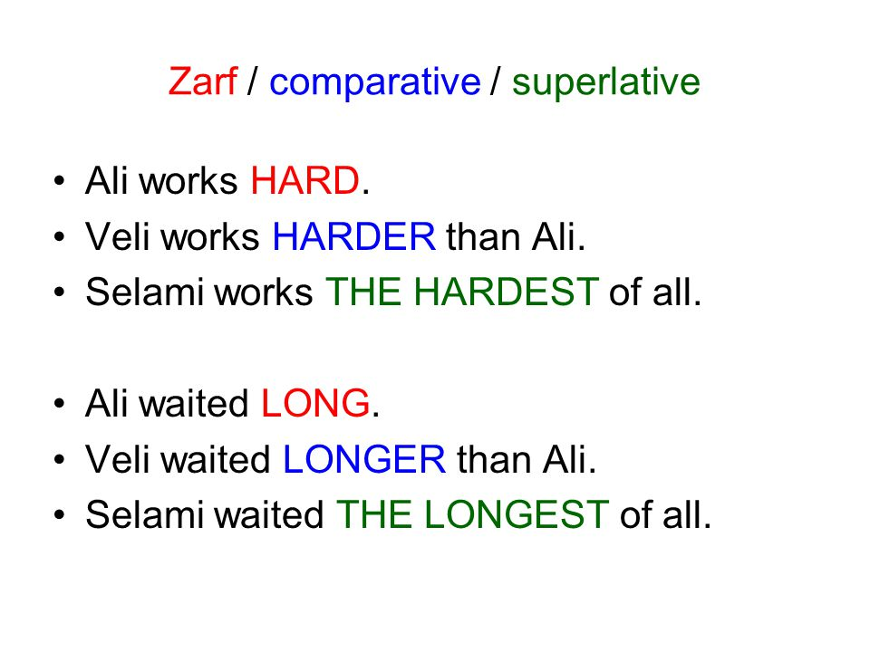 Zarf / comparative / superlative