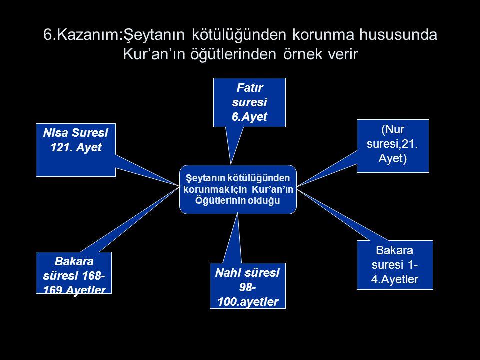6.Kazanım:Şeytanın kötülüğünden korunma hususunda Kur'an'ın öğütlerinden örnek verir