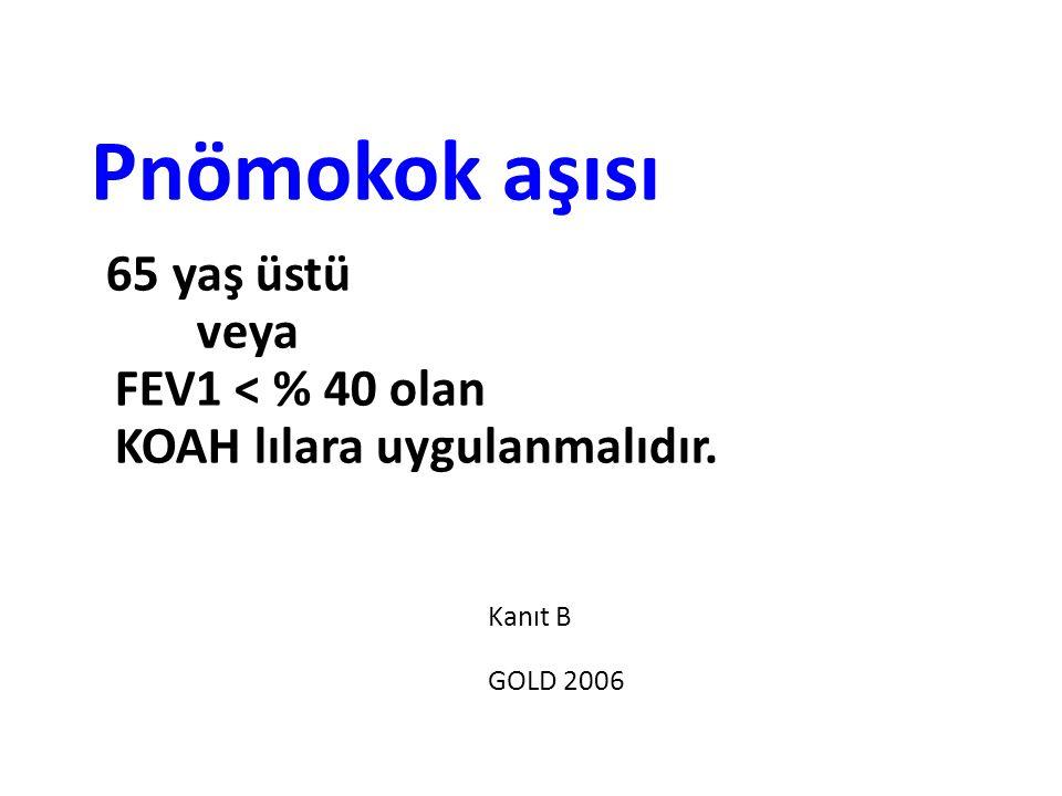 Pnömokok aşısı veya FEV1 < % 40 olan KOAH lılara uygulanmalıdır.